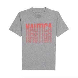 NAUTICA BOYS' LINED LOGO SHORT SLEEVE T-SHIRT NWT